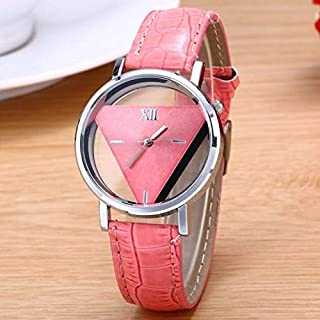 Fashion Watches Snake Belt Women Watch Double-Sided Hollow Perspective Triangle Quartz Watch