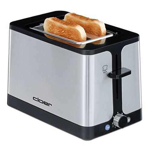 Cloer 3609 Toaster / 900 W / für 2 Toastscheiben / Auftaufunktion / integrierter Brötchenaufsatz / Nachhebevorrichtung / wärmeisoliert / mattiertes Edelstahlgehäuse