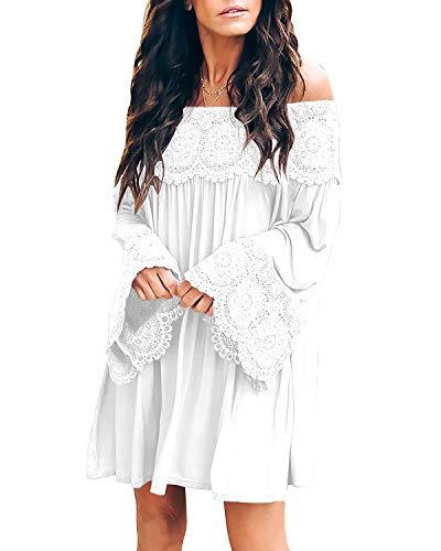 ZANZEA Women Sexy Off Shoulder Blouses Loose Mini Dress Lace Chiffon Flowy Swing Tunic Shift Dress White S