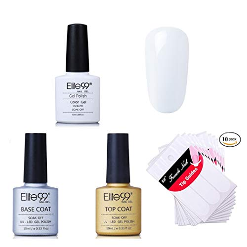 Elite99 French Nägel Design Nagellack, Weiß Gellack Frenchnägel, UV Gel Nail Polish 7.3ml, French Tip Guide 10pcs, Base und Top Cpat Set 005