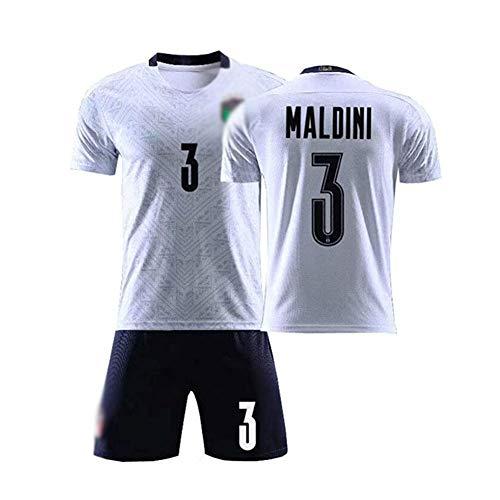 Jungen Fußball Trikot Set 2 Teilig Trainings Trikot Maldini #3 Ländertrikot Für Fußball, Kurze Ärmel,B,13 Years