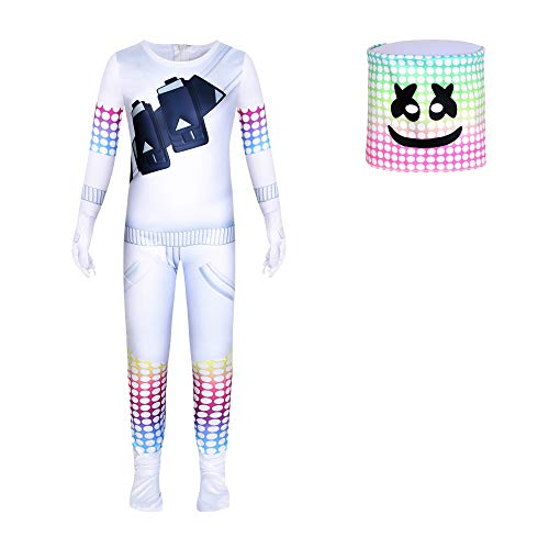 Boys Kids Halloween Costumes DJ Cosplay Music Festival Clothing with Full Head Masks
