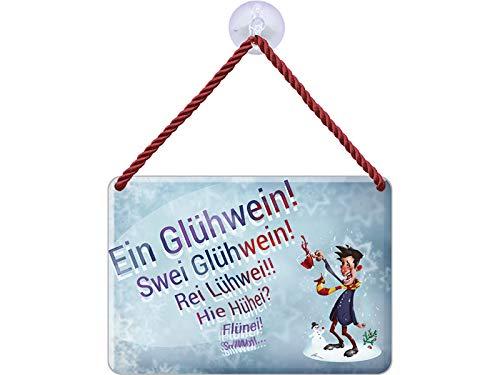 Blechwaren Fabrik Braunschweig Kulthänger Blechschild EIN GLÜHWEIN - SZWEI GLÜHWEIN - REI LÜHWEI … Weihnachten Weihnachtsmarkt KH155