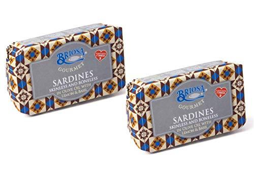 Briosa Gourmet Sardine Senza pelle e Senza Lische in Olio di Oliva con Limone e Basilico Ricche di Omega Tre - 2 x 120 Gram