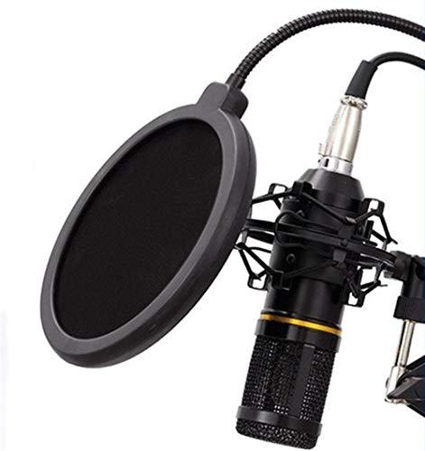 Micrófono de condensador del equipo con la tarjeta de cable y de sonido for la grabación Emisión Canto Live Stream para iPhone Android iPad PC (Color : Black)