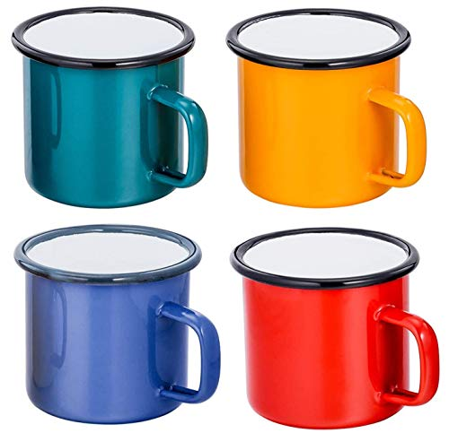 Tounuta Enamel Bonfire Camping Mug Set of 4, 12oz Metal Enamel Coffee Tea Cup,Suitable for Camping and Hiking