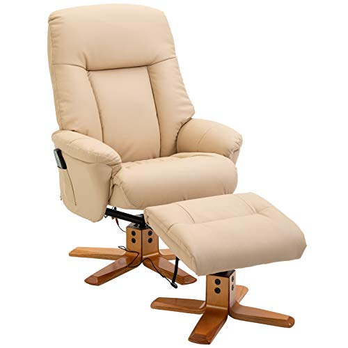 HOMCOM Fauteuil de Massage Relaxation électrique Chauffant Dossier inclinable 145° Max. Repose-Pied Beige