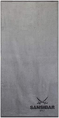 Sansibar Duschtuch 70x140 cm 100% Baumwolle Handtuch Doubleface Frottiertuch Zweifarbig Silber/Anthrazit Einzeln