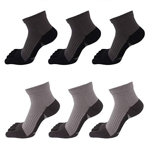 AIEOE - 6 pares de Calcetines Hombre de 5 Dedos Separados para Deportes Running de Algodón Elástico - Talla 39-44