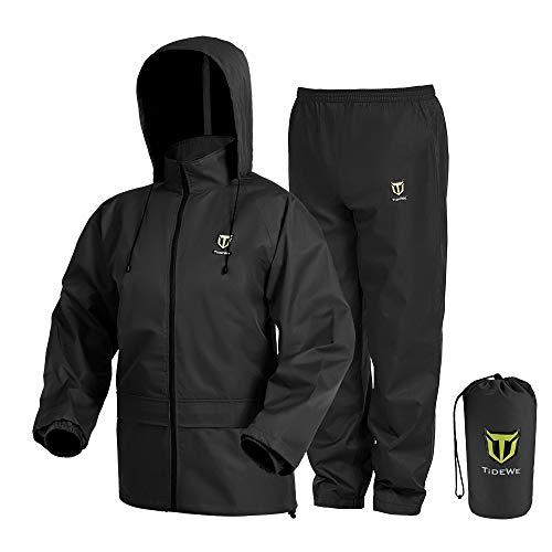 TideWe Rain Suit, Waterproof Breathable Lightweight Rainwear (Black Size M)