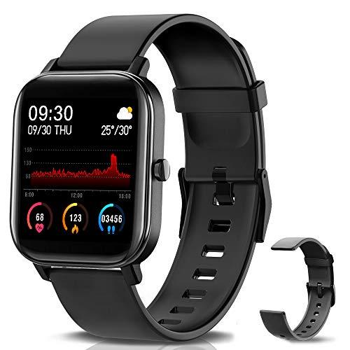 """NAIXUES Smartwatch, Reloj Inteligente Impermeable IP67 Reloj Deportivo 1.4"""" Pantalla Táctil Completa con Pulsómetro, Monitor de Sueño, Podómetro, Notificaciones para Mujer Hombre (Negro)"""