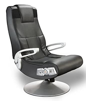 X Rocker SE 2.1 Black Leather Video Gaming Chair for Adult, Teen, and Kid Gamers with Pedestal Base, Armrest, and Headrest - High Tech Audio and Wireless Capacity - (5127401)