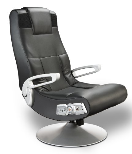 X Rocker SE 2.1 Black Leather Video Gaming Chair for Adult, Teen, and Kid Gamers with Pedestal Base, Armrest, and Headrest - High Tech Audio and Wireless Capacity - Ergonomic Back Support (5127401)