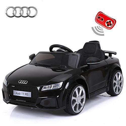 toyzz, Auto Giocattolo Elettrico per Bambini con Telecomando per Audi TTRS, Colore Nero, Rosso, Blu, Giallo, Nero