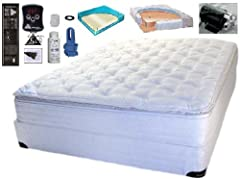 Very Soft and Super Comfortable Comes with a Organic Cotton Pillow-Top Cover Your choice 90%, 95% or 100% Waveless or Free Flow is also available Adjustable Digital Heating System Also you will recieve an electric pump w/ Hose Adapters