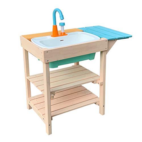 Wiltec Matschküche für Kinder aus Holz mit Spülbecken für Garten, Terrasse und Balkon