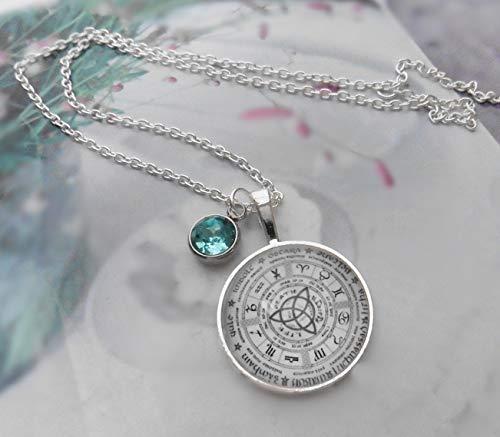 Gliederkette Sternzeichen versilbert Astrologie Tierkreiszeichen Symbole Cabochon Glas Kristall türkis Handmade Amulett Geschenk für Sie Weihnachten