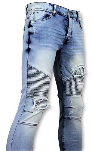 Blauwe Skinny Jeans Met Scheuren Heren - Heren Broek 3008