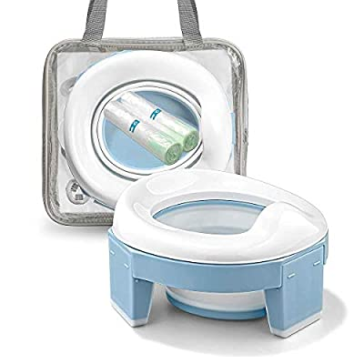 Portable Potty Training Seat for Toddler Kids - Foldable Training Toilet for Travel with Travel Bag and Storage Bag (Blue) by MCGMITT by MCGMITT
