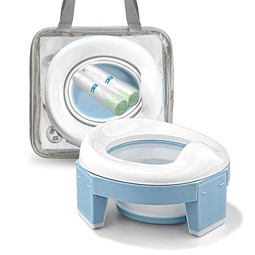 Portable Potty Training Seat for Toddler Kids - Foldable Training Toilet for Travel with Travel Bag and Storage Bag (Blue) by MCGMITT