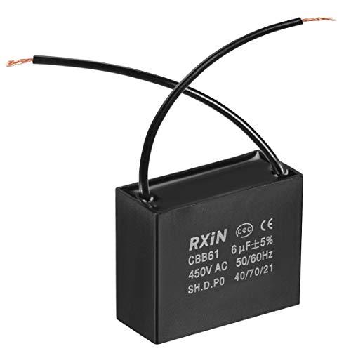 sourcing map Deckenventilator Kondensator Polypropylen Film Metallisiert Kondensatoren für Wasserpumpe Motorgenerator für Einphasenmotor 2 Drähte mit geringem Verlust