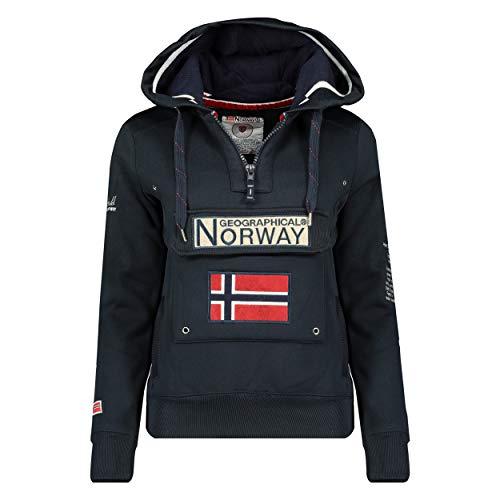 Geographical Norway GYMCLASS Lady - Sudadera Mujer Bolsillos Kangaroo - Sudadera Caliente Mujer - Suéter Abrigos Manga Larga - Hoodie Tops Casual Abrigo Estilo Azul Marino 2XL - Talla 5