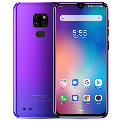 Vernee M7 Telephone Portable Débloqués, 4Go + 64Go Dual SIM 4G Smartphone Android 9.0, MTK6761 Quad-Core 13MP/8MP 3 Caméra arrière 6.1' Écran Batterie 3500mAh Mobile - Visage ID+Empreinte Digitale