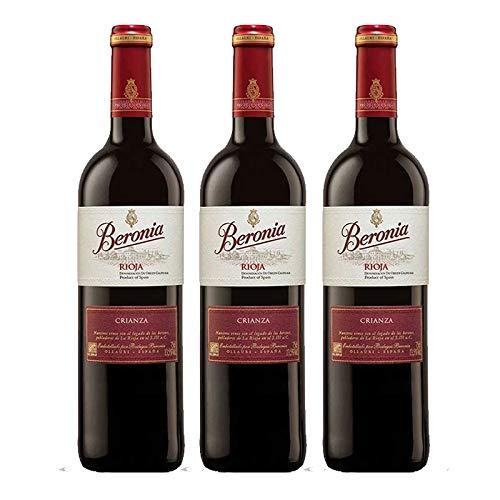 Vino tinto Beronia Crianza de 75 cl - D.O. La Rioja - Bodegas Gonzalez Byass (Pack de 3 botellas)