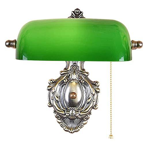 LIUJIE Lámpara banquero Aplique Vintage E27 zócalo Vidrio Verde Pantalla banquero Aplique Retro Ajustable con Interruptor de Cadena Aplique para Dormitorio,
