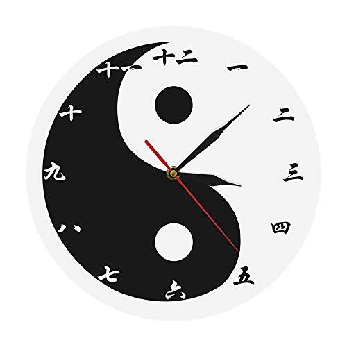 DJDLNK Wandklok Modern Yin Yang met Chinese cijfers Feng Shui Wall Art spirituele wandklok met Balance Taijitu Wit Zwart
