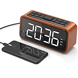 Alarm Clock, Jelly Comb Wooden Large LED Digits Alarm Clock with USB Charging Port, FM Radio, Sleep Timer, Adjustable Brightness, Dimmer, Easy Snooze for Bedroom / Desk