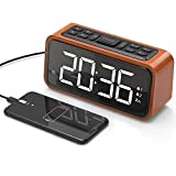 Best Alarm Clock With Radios - Alarm Clock, Jelly Comb Wooden Large LED Digits Review
