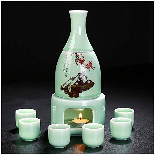BBGSFDC Pentole da tè, Set di Sake di Celadon con Confezione da Regalo scaldabile con Confezione da 9 Pezzi (Color : B)