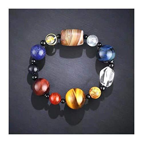 OYZK Amantes Ocho Planetas Pulsera de Piedra Natural Universo Yoga Chakra Galaxy Sistema Solar Barlas Pulseras para Hombres Mujeres Joyería (Metal Color : Irregular)