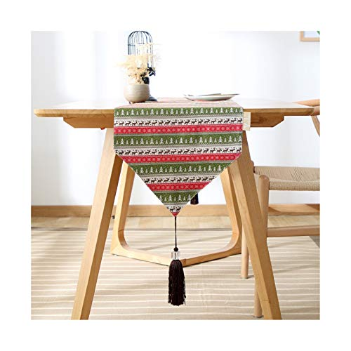 Rubyia Rectangle Table Runner, Christmas Trees Deer Table Runners for Home Decor, Cotton, 33 x 160 cm (13' x 62'), Green