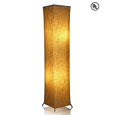 LEONC 52  Creative Floor Lamp Softlighting Home Design Minimalist Modern Floor Lamp with Fabric Shade & 2 Bulbs for Bedroom Living room Warm Atmosphere (Size Linen Fabric: 10 x 10 x 52 inch)
