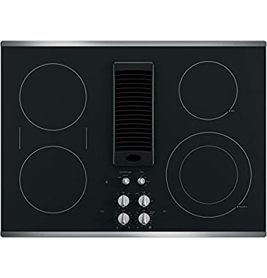 """GE Profile Series 30"""" Downdraft Electric Cooktop Black Glass with Stainless Steel Trim PP9830SJSS"""