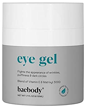 Baebody Eye Gel for Under and Around Eyes to Smooth Fine Lines Brighten Dark Circles and De-Puff Bags with Peptide Complex and Soothing Aloe 1.7 Fl Oz