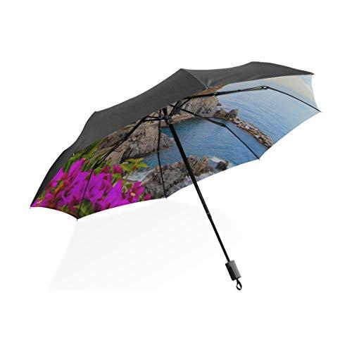 Riesen-Sonnenschirm Schöne mediterrane Architektur Landschaft tragbare kompakte Taschenschirm Anti-Uv-Schutz Winddicht Outdoor-Reisen Frauen Kinder Regenschirm Mädchen