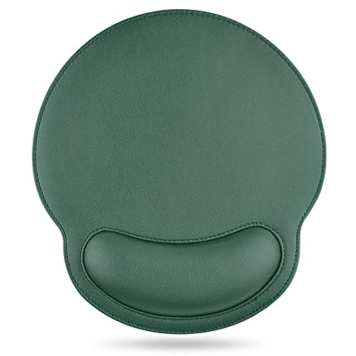 DETUOSI Mouse Pad, Leather Mouse Pad Wrist Rest Support,Ergonomic Design Durable Memory Foam Non-Slip Rubber Base Wrist Rest Mouse Mat, Relief Pain Mousepad for Computer/Office/Home/Work Travel #Green