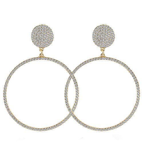 LABIUO geometrische Ohrringe/Damen Anhänger Ohrringe/Retro Kreis große Ohrringe mit Kristall Schmuck Geschenk für Damen/Frau/Freundin(Silber,Einheitsgröße)