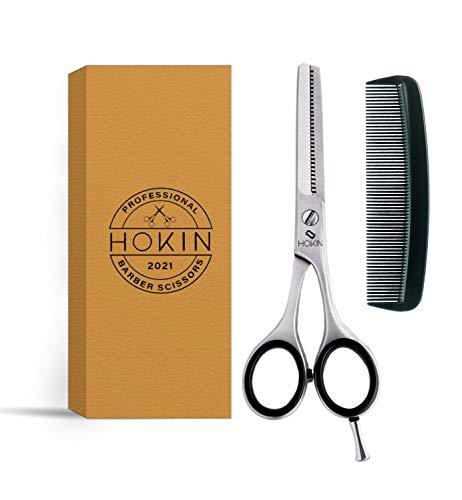 HOKIN Effilierschere-6,5 Zoll Ausdünnschere Rostfreier Stahl Schere mit Bio-Verpackung mit HaareKamm für Männer Frauen und Kinder