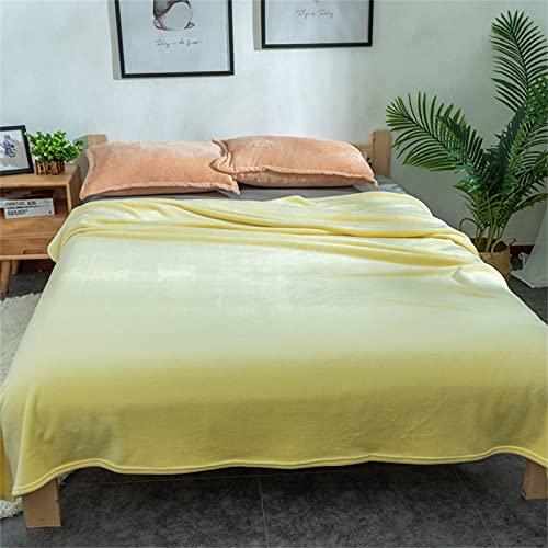 VBHT Manta De Franela Manta De Descanso Manta De Impresión Manta De Aire Acondicionado Amarillo EI 180 * 200cm