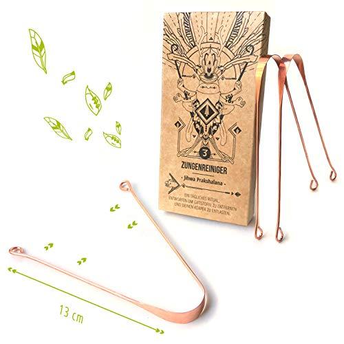 Nature Nerds - 3 limpiadores de lengua de cobre, estuche 100% reciclado, Jihwa Prakshalana - Un ritual de desintoxicación ayurvédica con el raspador de lengua