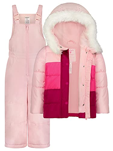 Carter's Toddler Girls Snowsuit Heavy Winter Jacket and Snow Bib Pants and Mittens Pink - 3T