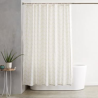 AmazonBasics Shower Curtain with Hooks (Treated to Resist Deterioration by Mildew) - 72 x 72 inches, Natural Herringbone