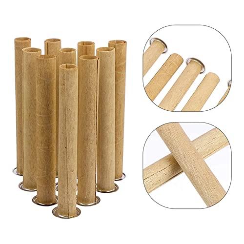 Mecha de madera para velas de cera Tubo redondo de la vela de madera sin humo con soporte de hierro Eco amigable Cores de velas Hecho a mano DIY haciendo accesorios de artesanía Calma los nervios y pu