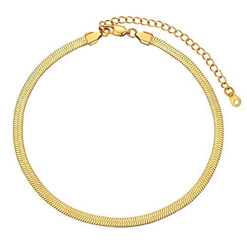 FOCALOOK Collares Dorados para Mujeres Cadenas Finas Planas Acero Inoxidable Tipo Serpiente Espiga Colores Oro 18k 5mm 32cm
