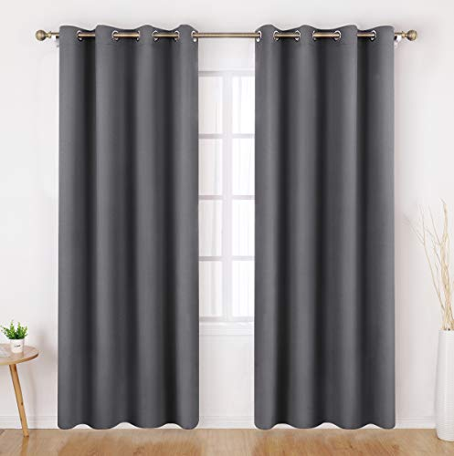 HOMEIDEAS Grey/Gray Blackout Curtains 52 X 96 Inch Long Set of 2 Panels Room Darkening Bedroom Curtains/Drapes, Thermal Grommet Light Blocking Window Curtains for Living Room