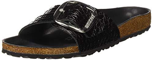 BIRKENSTOCK Damen Madrid Big Buckle Pantoletten, Schwarz (Gator Anthracite Hex Black Gator Anthracite Hex Black), 36 EU